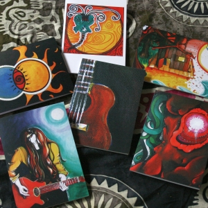 selections of my artwork on greeting cards.
